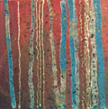 "Abstract painting, size 12"" x 12"", mixed media, abstract tree trunks, red, green, turquoise, yellow, gold metallic, texture, splatters"