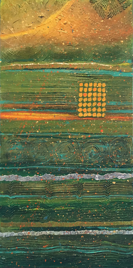 "Abstract painting, 12"" x 24"", horizontal lines, predominantly green, gold accents, orange accents, vintage maps, yellow, turquoiseblue"