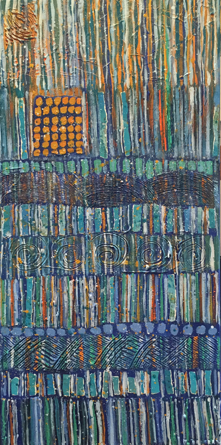 "Detail of Abstract painting, size 12"" x 24"", bands of vertical lines, predominantly blue, shades of blue, orange accents, vintage map collage elements, highly textures"