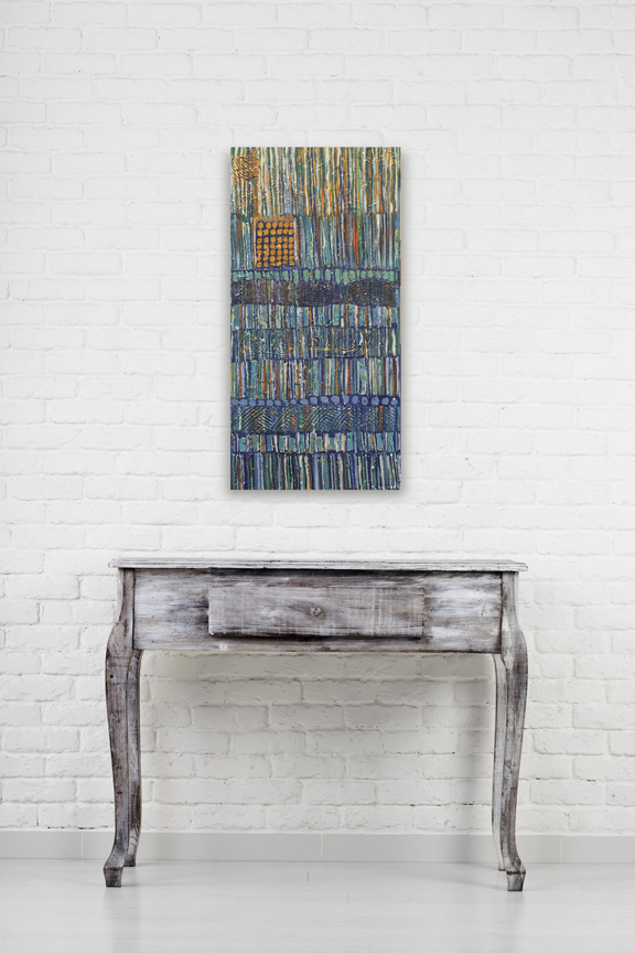 "Abstract painting, size 12"" x 24"", bands of vertical lines, predominantly blue, shades of blue, orange accents, vintage map collage elements, highly textures"