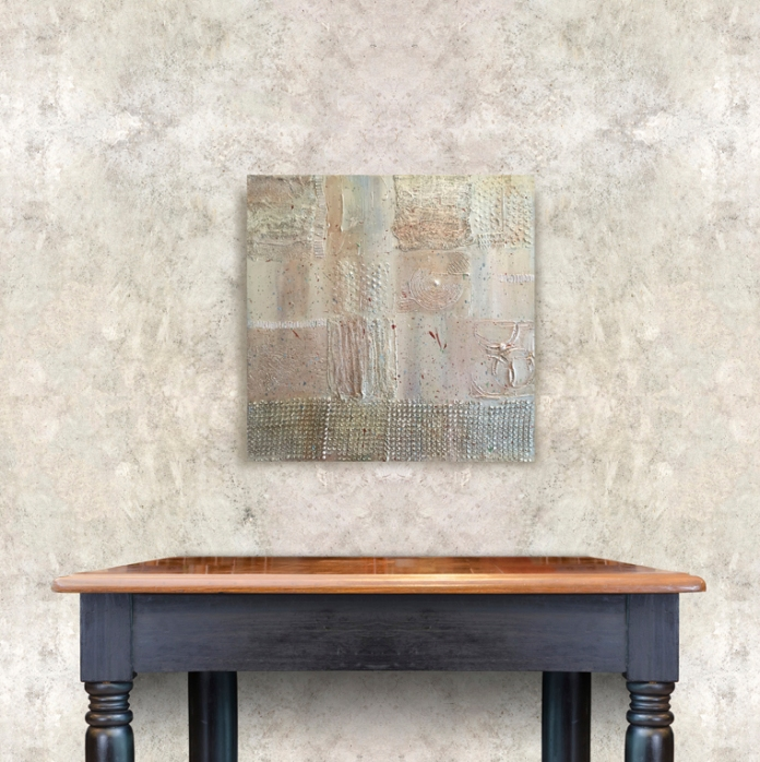 Empty wooden vintage table on brick tiles wall,Mock up