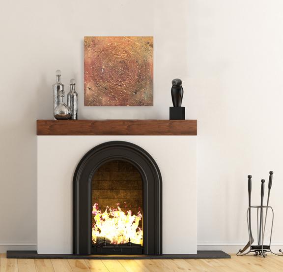 Empty room with minimalist fireplace