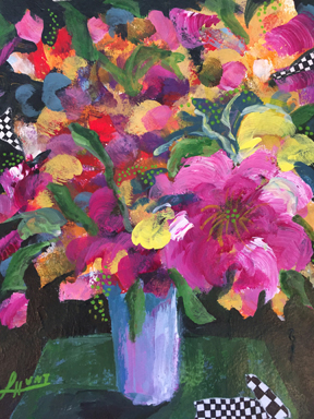 18485 Pink Flowers on Green Table-lo